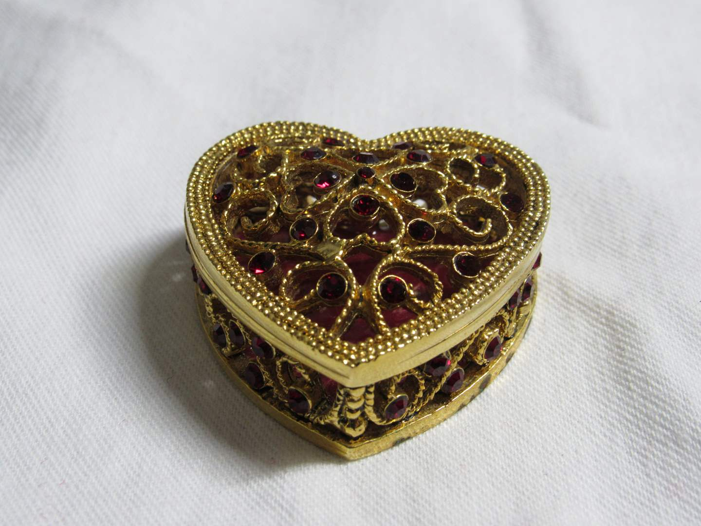 Lot # 191  Nice heart pink enamel miniature trinket box (main image)