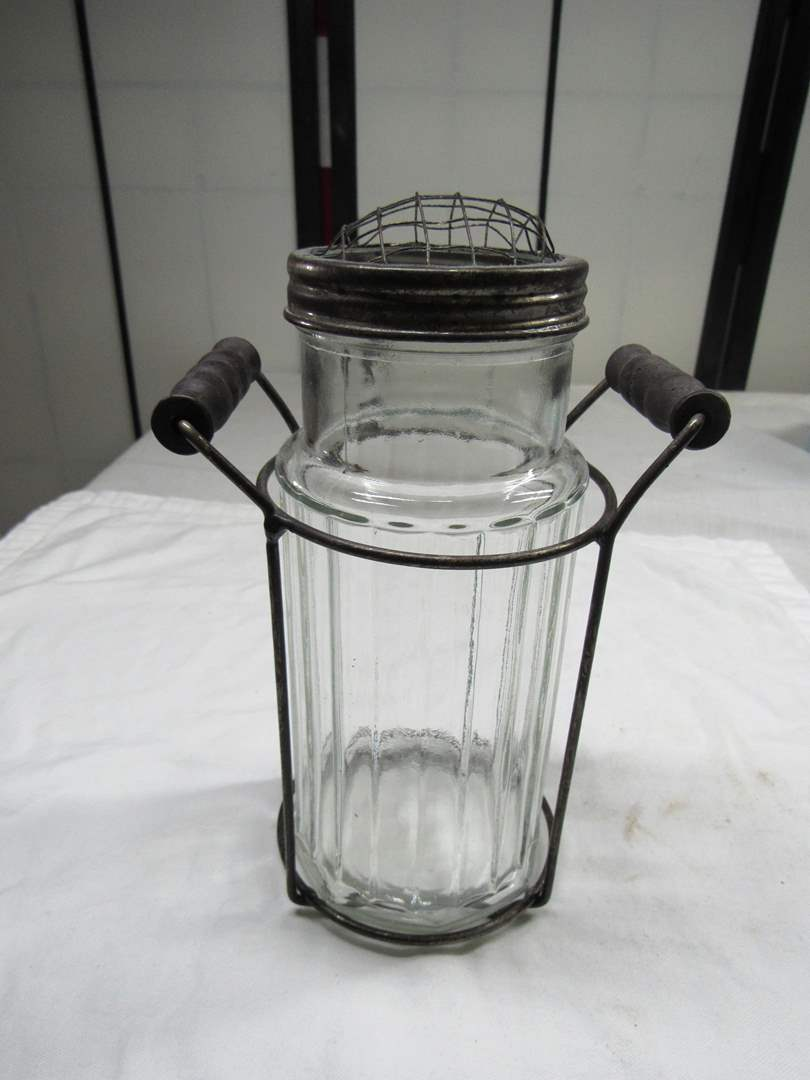 "Lot # 204  Great vintage primitive shaker w/holder 8"" (main image)"