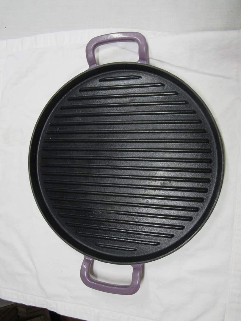 "Lot # 208  Great cast iron & enamel Cook Essentials 12"" pan (main image)"