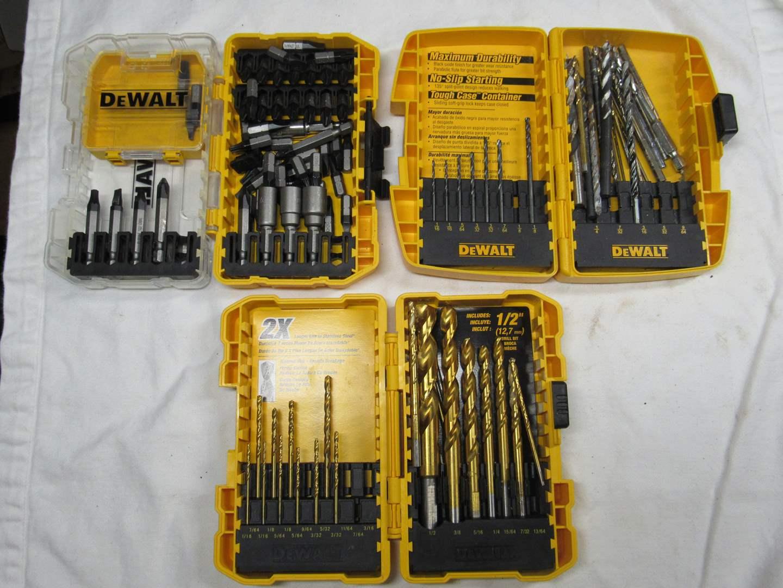 Lot # 209  3 boxes of DeWalt drill bits (missing a couple bits) (main image)