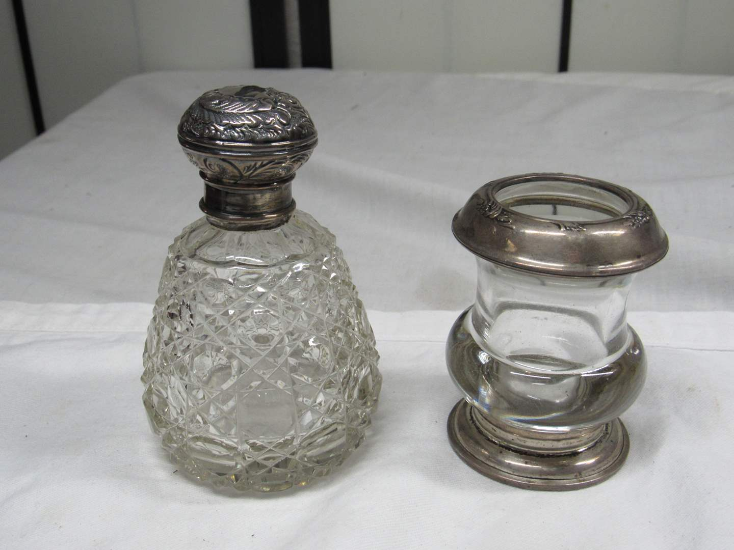 Lot # 212  2 great antique glass jars with sterling lids  (main image)