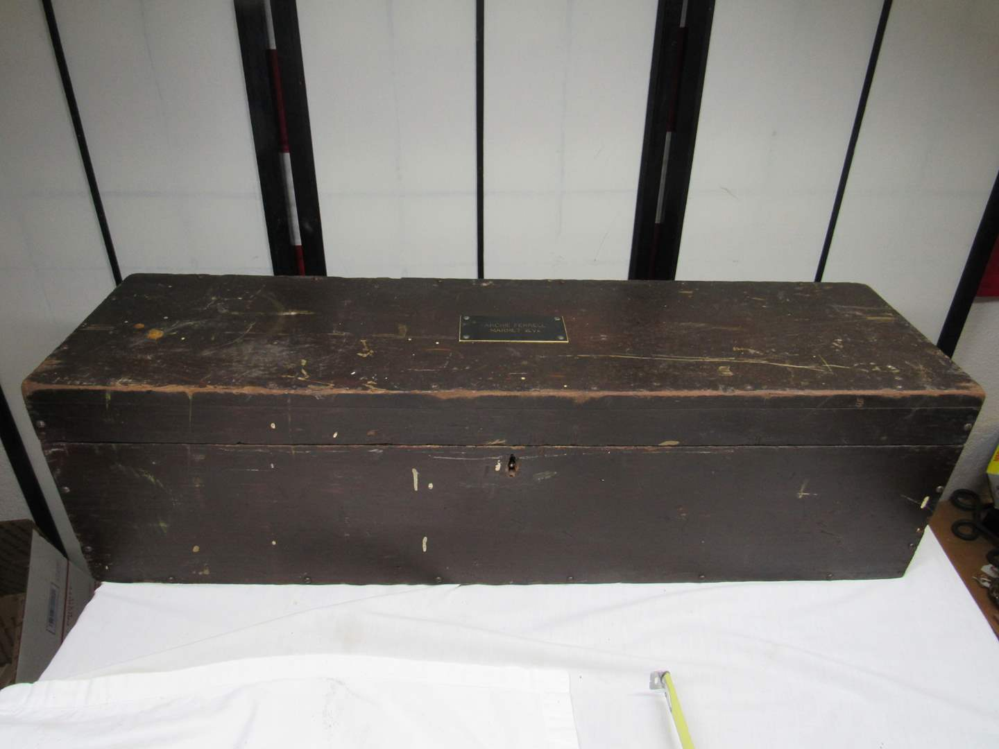"""Lot # 213  Awesome antique tool chest 32X9X9"""" (lock had to be cut so not functioning) (main image)"""