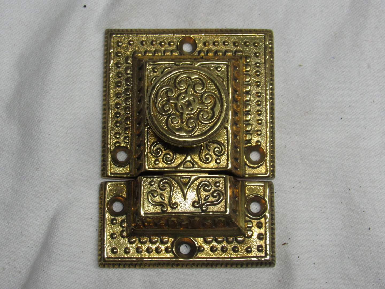 "Lot # 214  Great solid brass AAB Co. door lock (3 1/2"") (main image)"