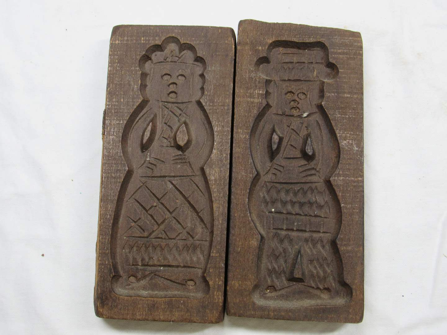 """Lot # 233  Nice Antique wood candy/cookie molds 8"""" long (main image)"""