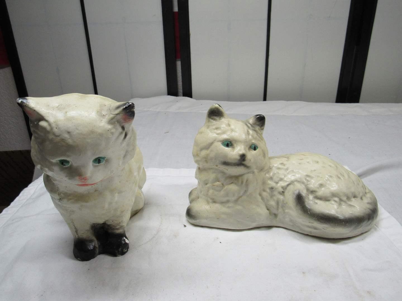 Lot # 234  2 vintage HEAVY plaster cat door stops (slight condition issues) (main image)
