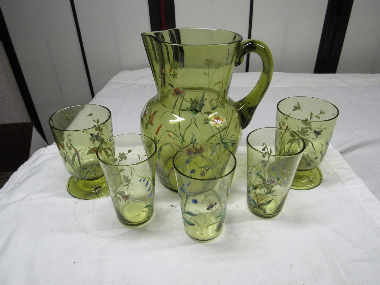 Lot # 236  WOW antique Hand made & hand painted MOSER pitcher & tumblers (read below) (main image)