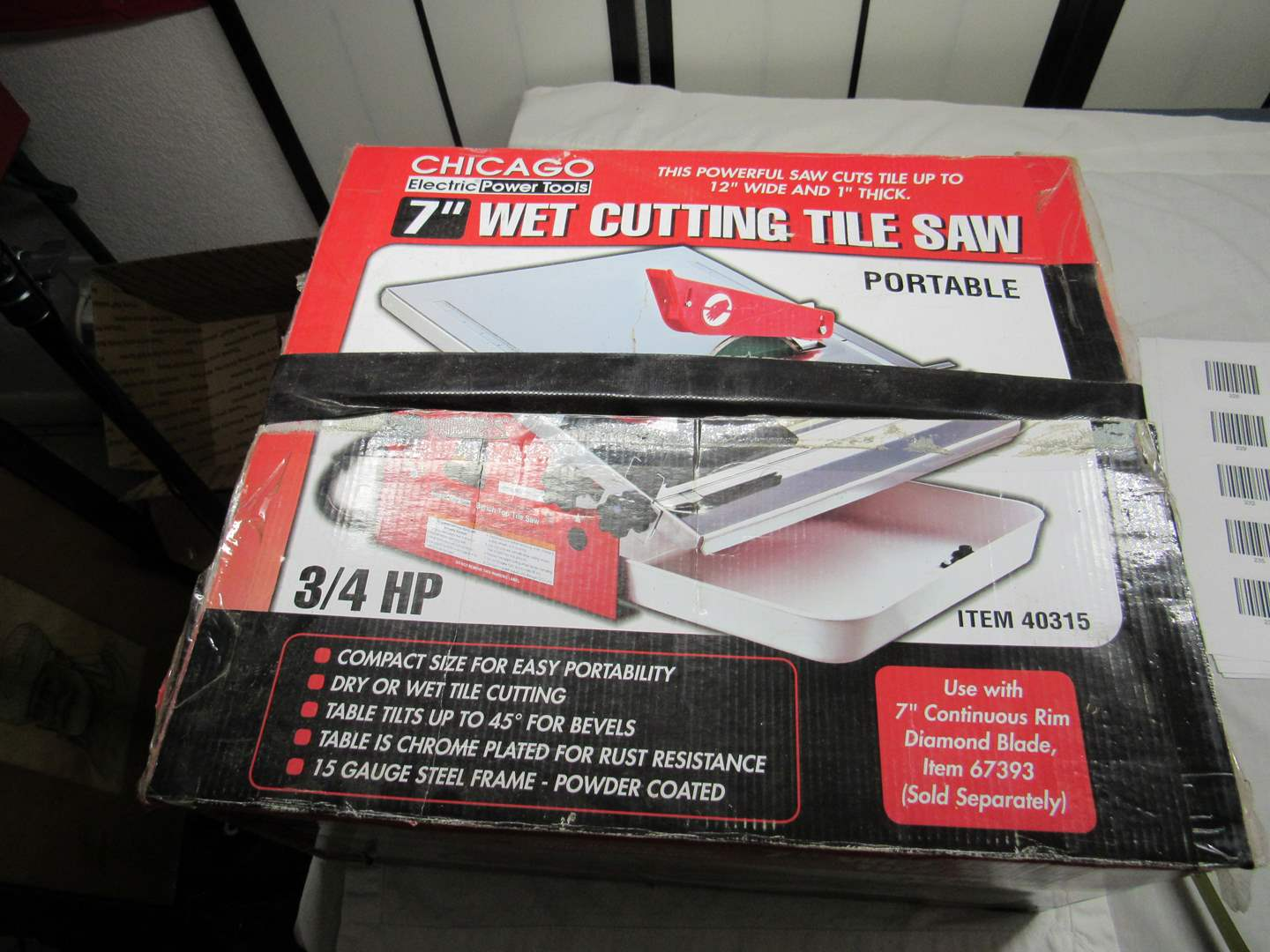 """Lot # 237  Chicago Power tools 7"""" wet tile cutting saw (appears to have been used 1 time) (main image)"""