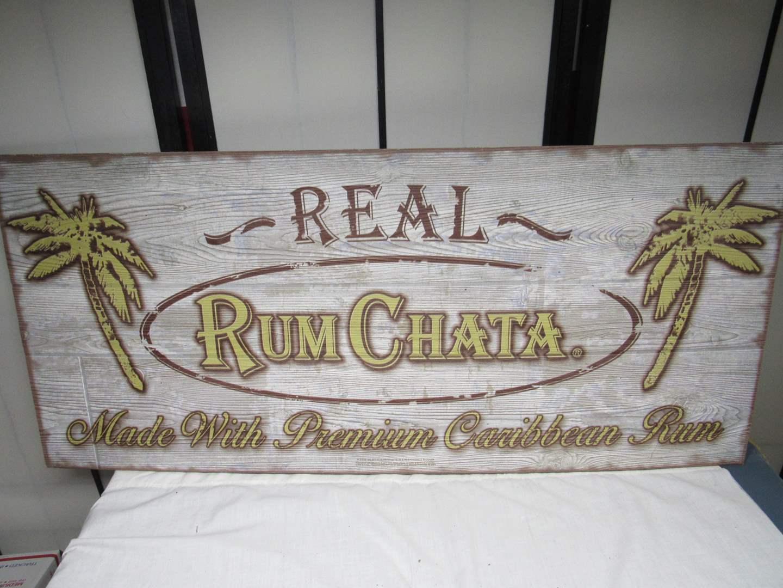 """Lot # 241  Great & NEW Real Rum Chata wood bar man cave sign 36"""" long (main image)"""