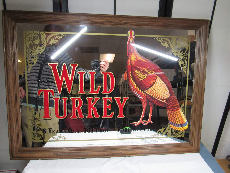 "Lot # 242  Great man cave Wild Turkey bar mirror 35""X25"" (main image)"