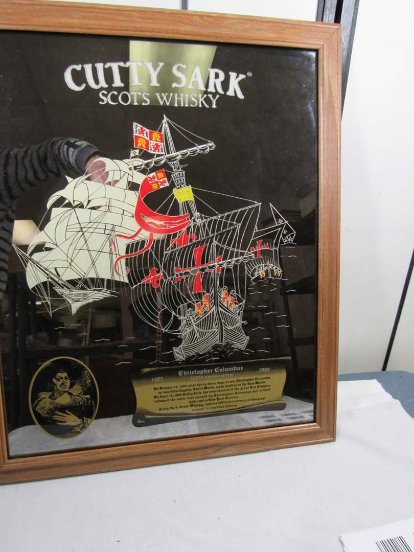 "Lot # 245  Like new Cutty Sark Mirror man cave bar sign 25X21"" (main image)"