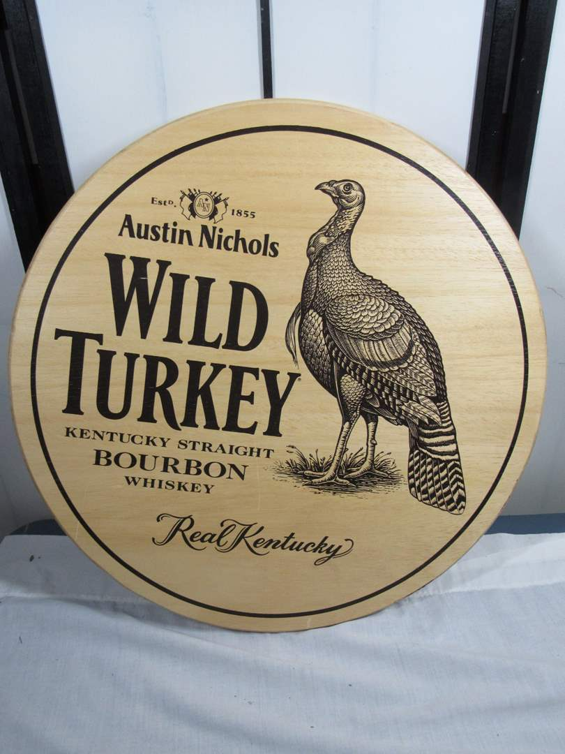 "Lot # 246  Austin Nichols Wild Turkey wood bar man cave sign 21"" (main image)"