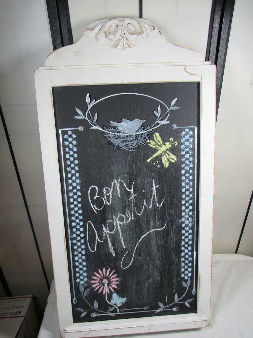 "Lot # 251  Great shabby chic chock board 37""X20"" (great look) (main image)"
