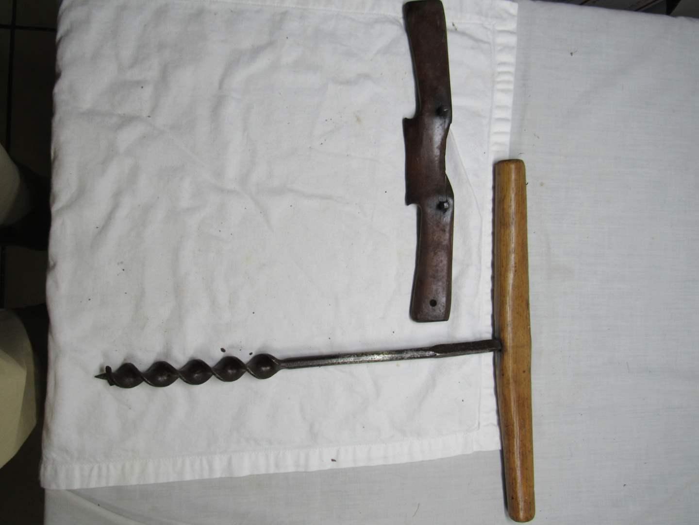 "Lot # 267  Antique T-Drill wood auger barn beam 16"" & bonus shaver (main image)"