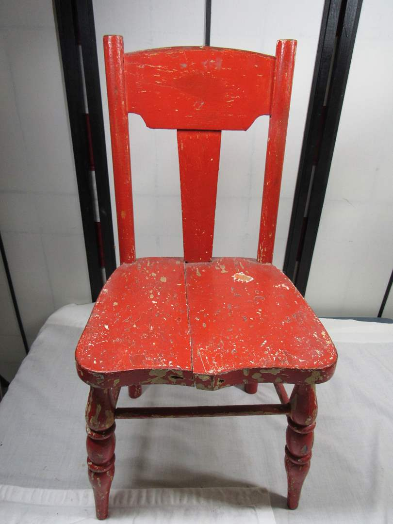 "Lot # 270  Child antique chair 23"" tall (main image)"