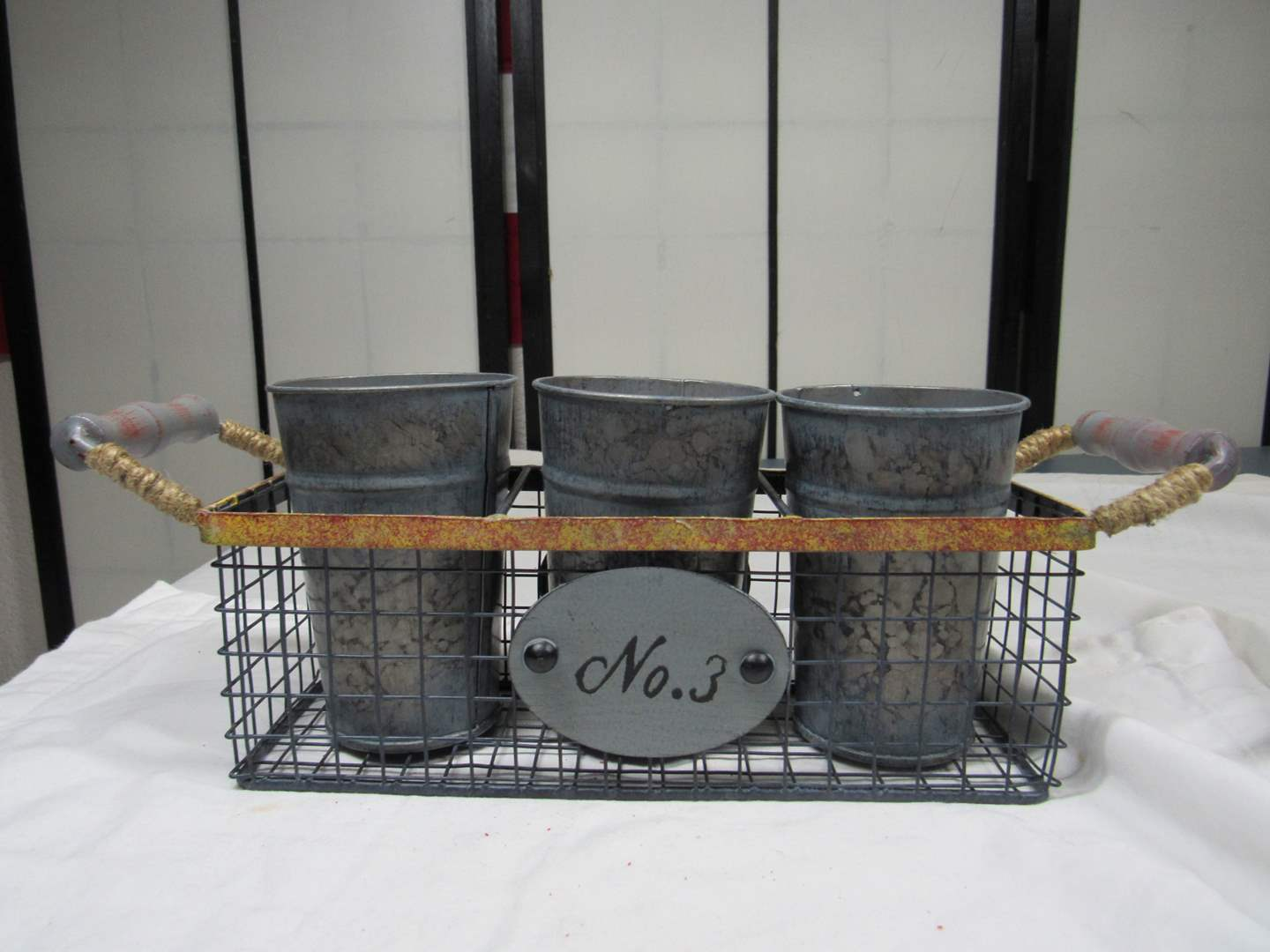"""Lot # 278  Vintage style 3 tin catch all  13"""" across (main image)"""