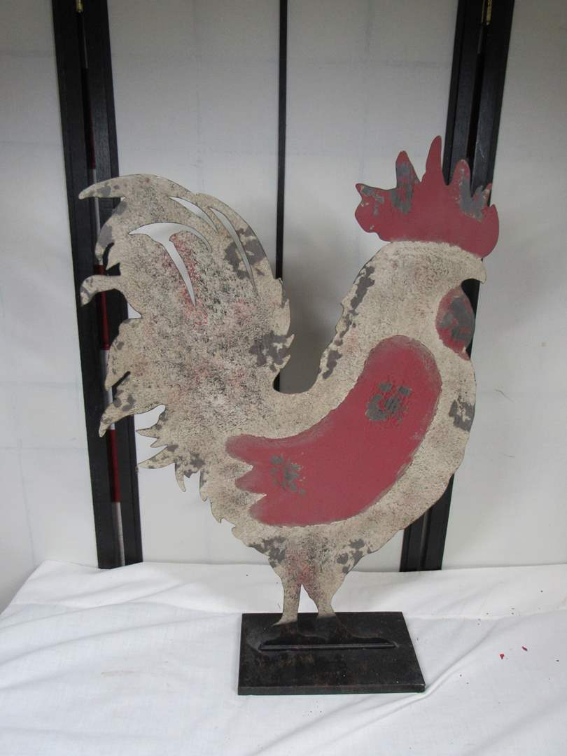 "Lot # 279  FANTASTIC tin cut rooster 23"" tall (great platform for sitting (main image)"