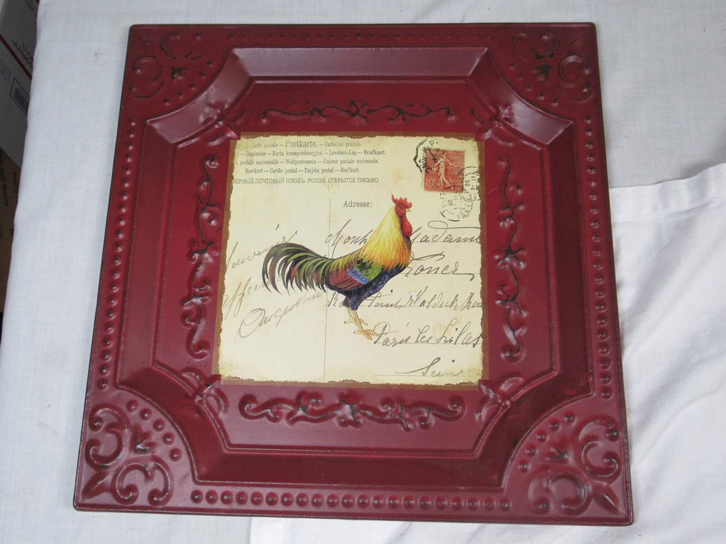 """Lot # 281  Tin framed rooster 14""""x14"""" (main image)"""