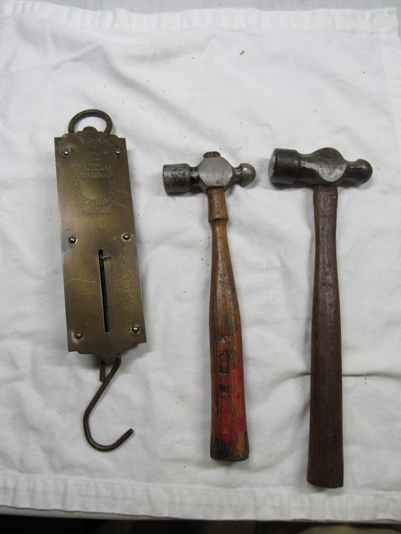 Lot # 290  Antique balance scale & 2 Blacksmith tap hammers (main image)