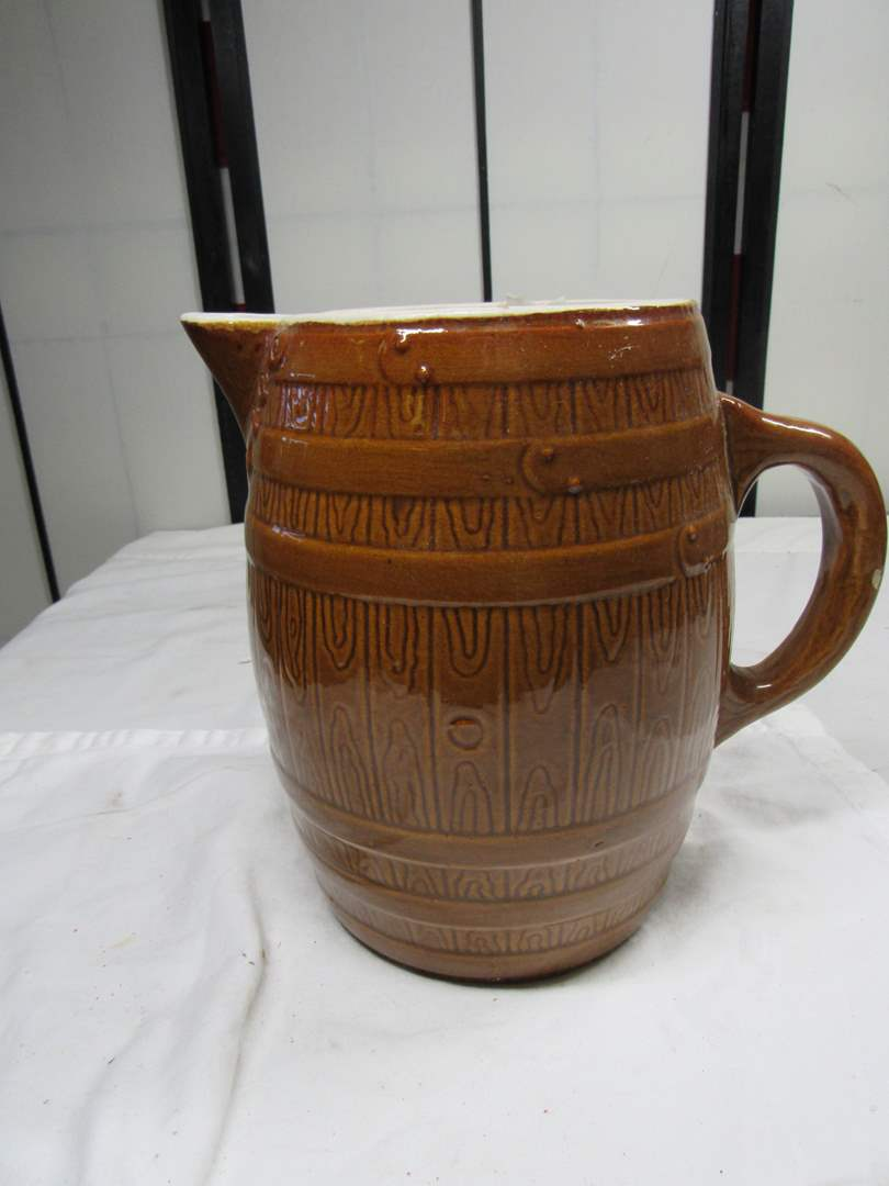 "Lot # 296  Antique barrel style pitcher 9"" tall (UHL pottery company) (main image)"