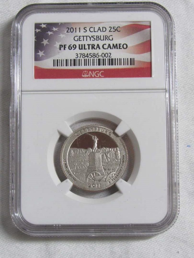 Lot # 146  HIGH grade 2011 S quarter Clad Gettysburg PF69 Ultra Cameo  (main image)