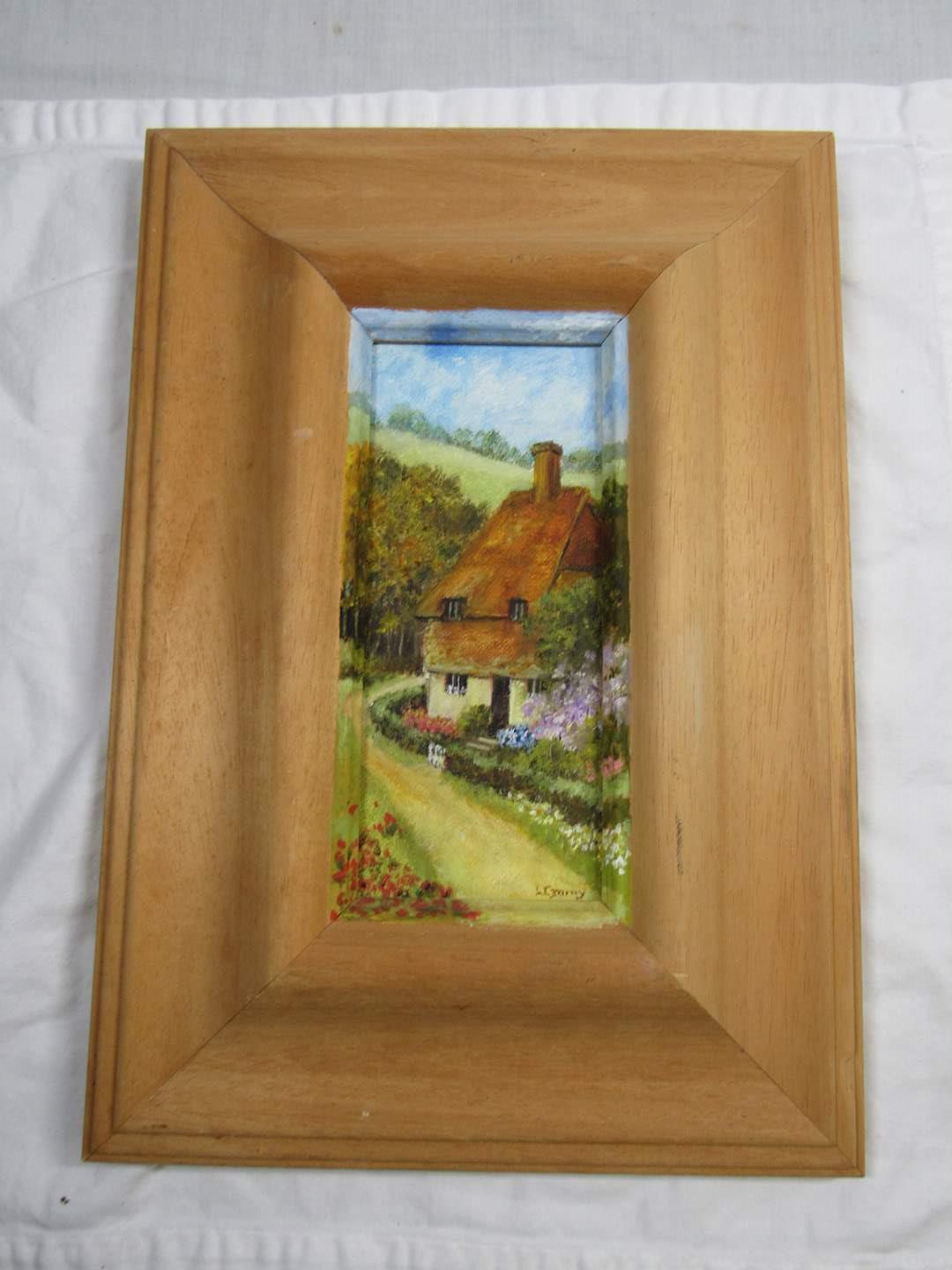 """Lot # 252  Small water color by listed artist Leonora Garny 15X11"""" farm scene (main image)"""