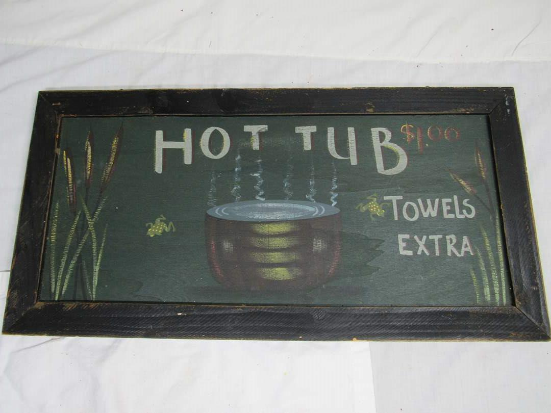 """Lot # 297  Great hanging sign (hot bath towels extra) 24"""" X 12"""" (main image)"""