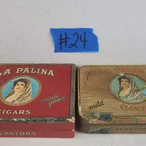 """Auction Thumbnail for: Lot # 24 Vintage """"La Palina"""" Cigar Tin and Box"""