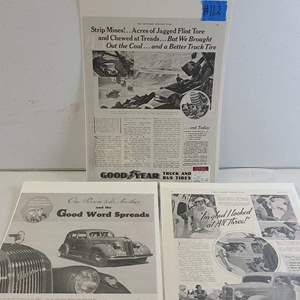 """Auction Thumbnail for: Lot # 112 1935 """"Plymouth"""", 1935 """"Pontiac"""" & 1935 """"Goodyear Tire"""" Ads"""