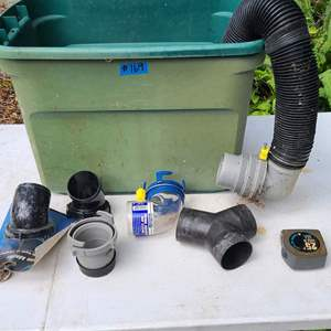 Auction Thumbnail for: Lot # 169 Small Tote W/ RV Sanitation Hose and Adapters