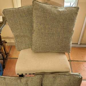 Auction Thumbnail for: Lot # 273 Pretty Armless Sitting Chair & 4 Accent Pillows