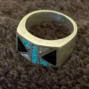 Auction Thumbnail for: Lot # 122  Beautiful Sterling Silver Ring With Turquoise, Etc. See Below. 9.83 Grams Size 8