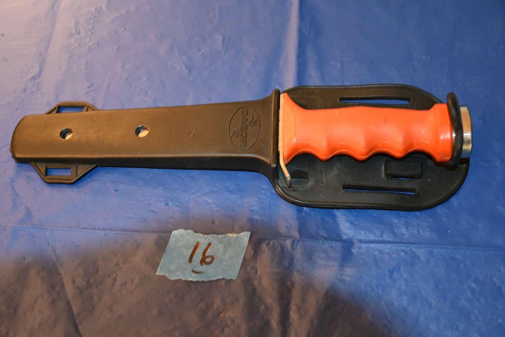 Lot # 16 DACOR scuba knife with sheath ORANGE handle
