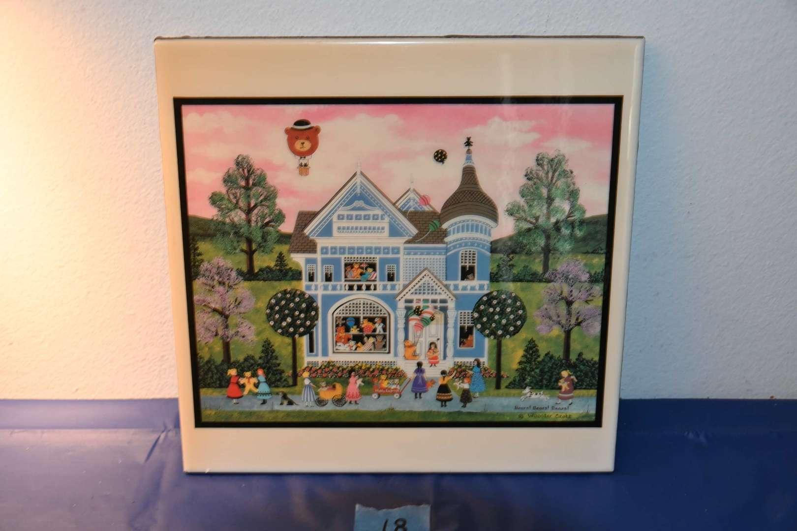 """Lot # 18 Jane Wooster Scott Decorative Ceramic Art Tile Trivet """"Bears! Bears! Bears!"""""""