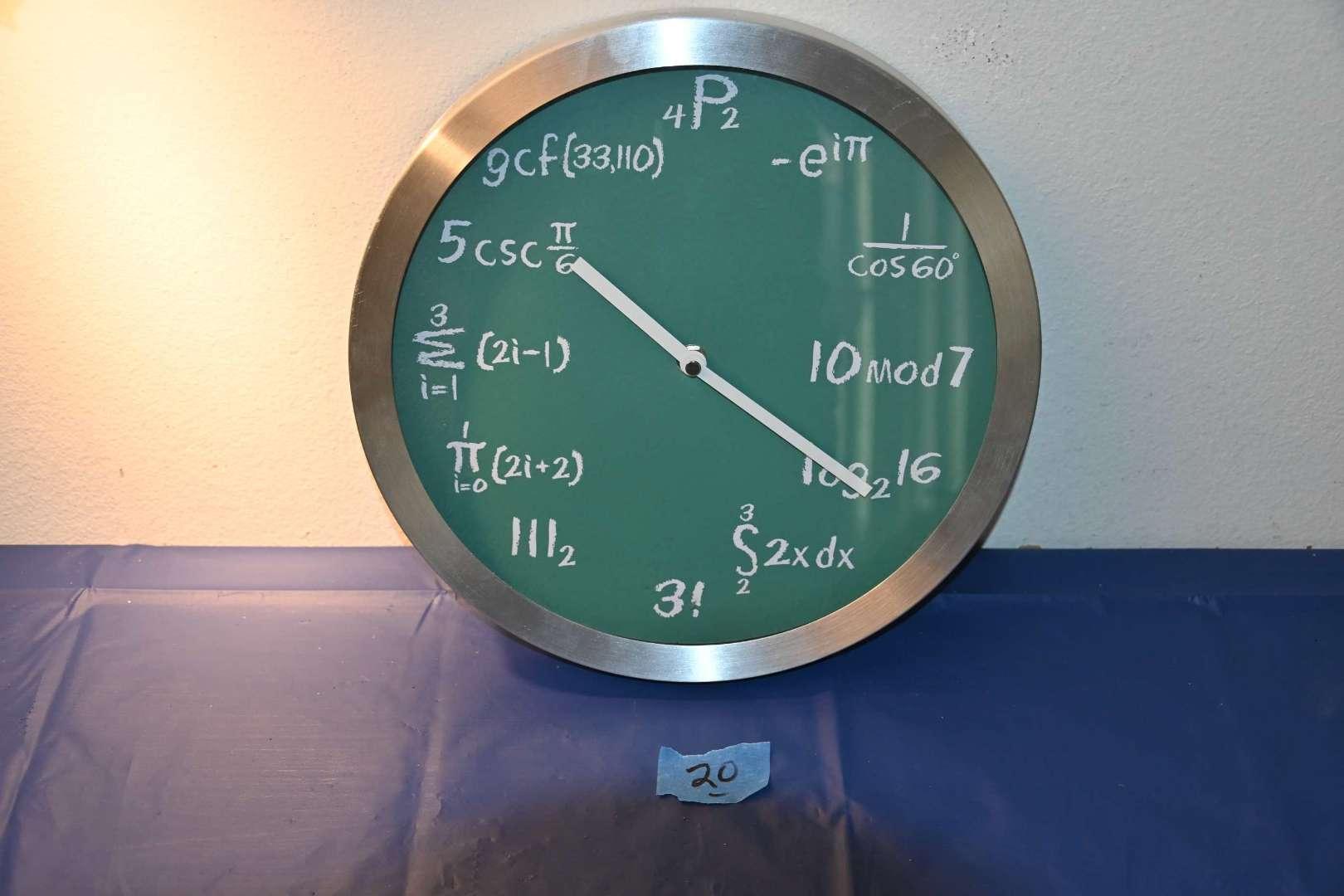 Lot # 20 Mathematic equations wall clock