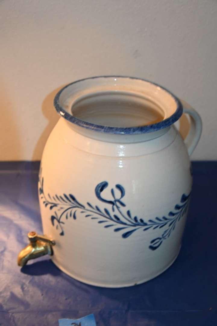 Lot # 34 Vintage pitcher crock with brass spigot