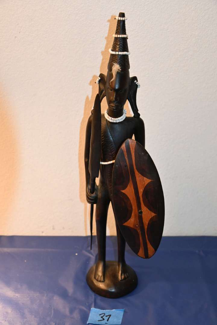Lot # 37 African hand carved ZULU warrior