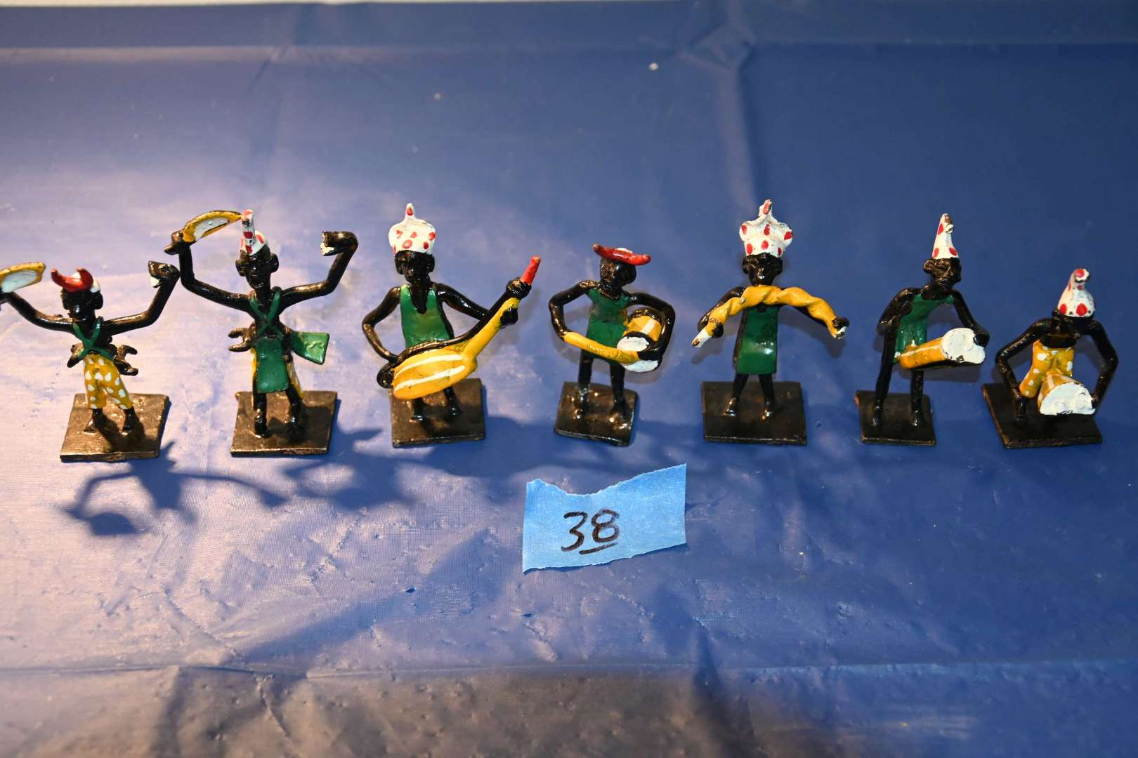 Lot # 38 West African cast metal hand painted musicians pre-1970s