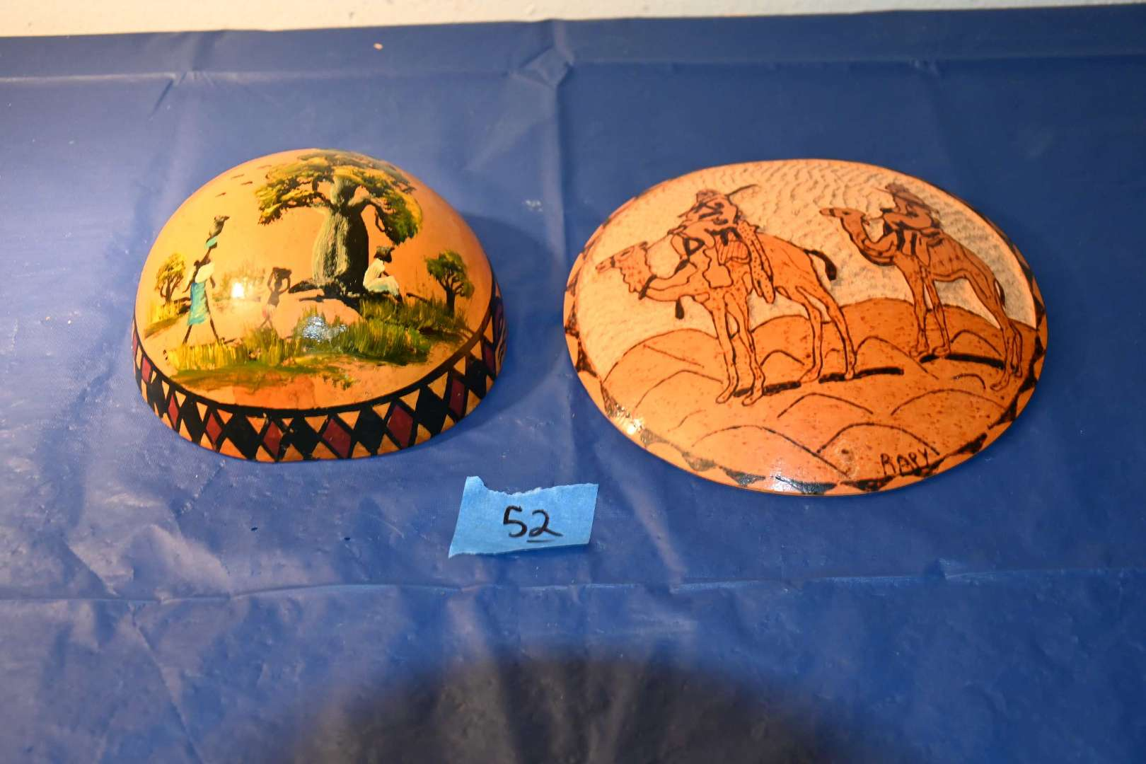 Lot # 52 African carved & painted gourd shells