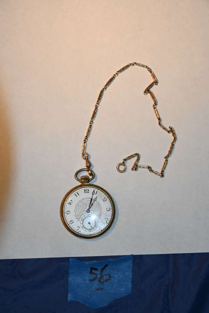 Lot # 56 14KT gold-filled ELGIN POCKETWATCH with GF chain