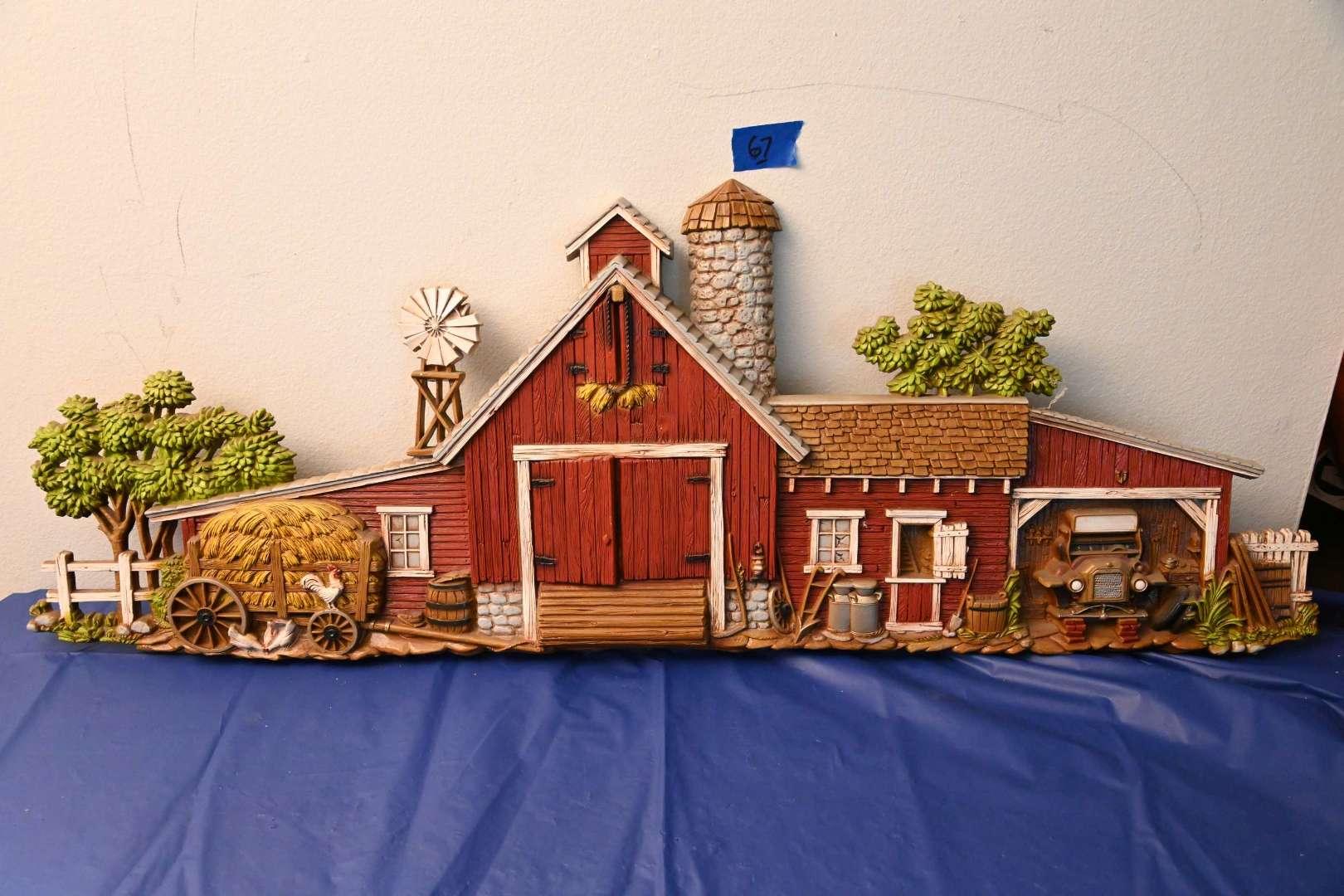 "Lot # 67 BURLWOOD Products company 1974 large 3d barn #586 46"" LARGE"
