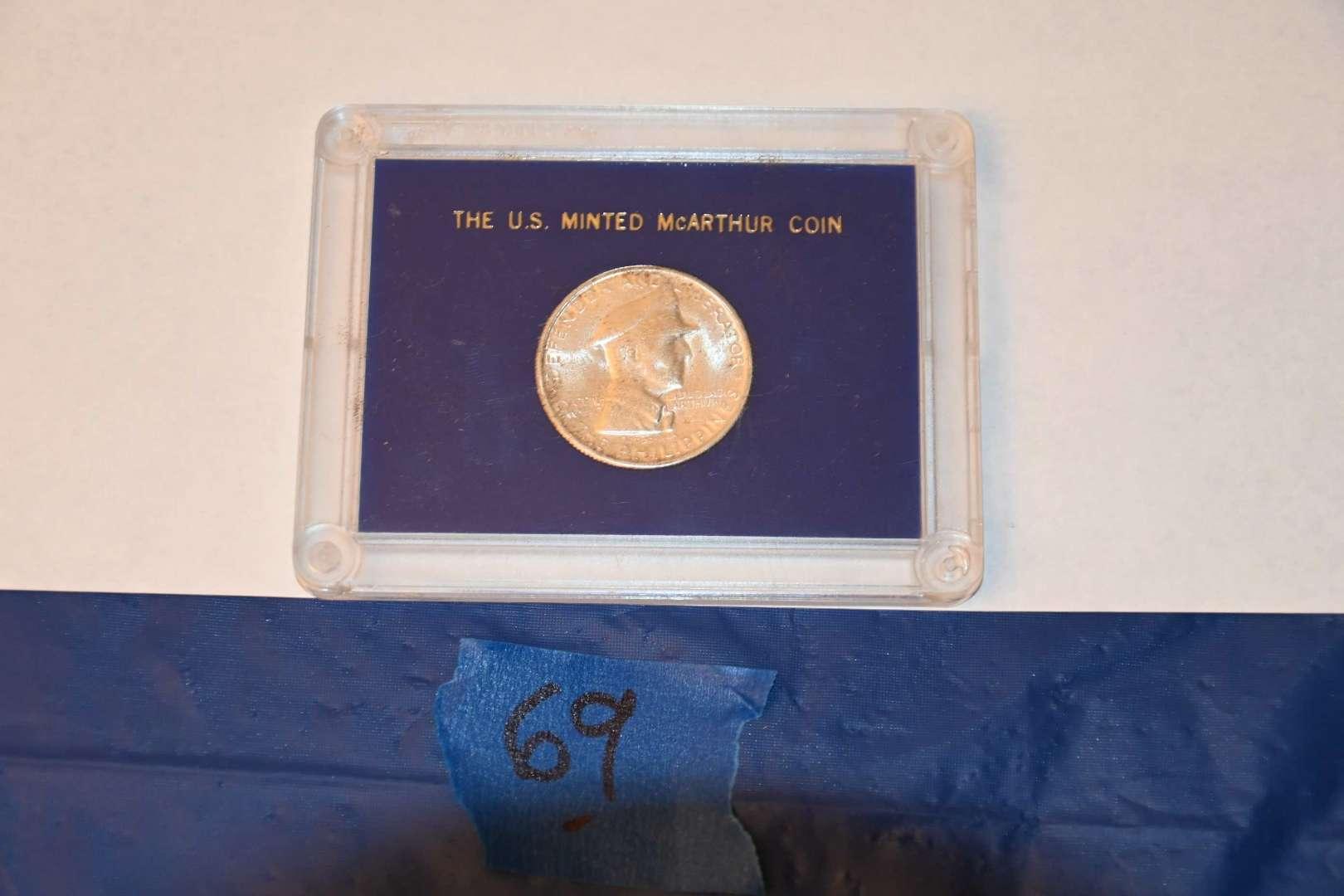 Lot # 69 1947 McArthur coin 90% silver with COA