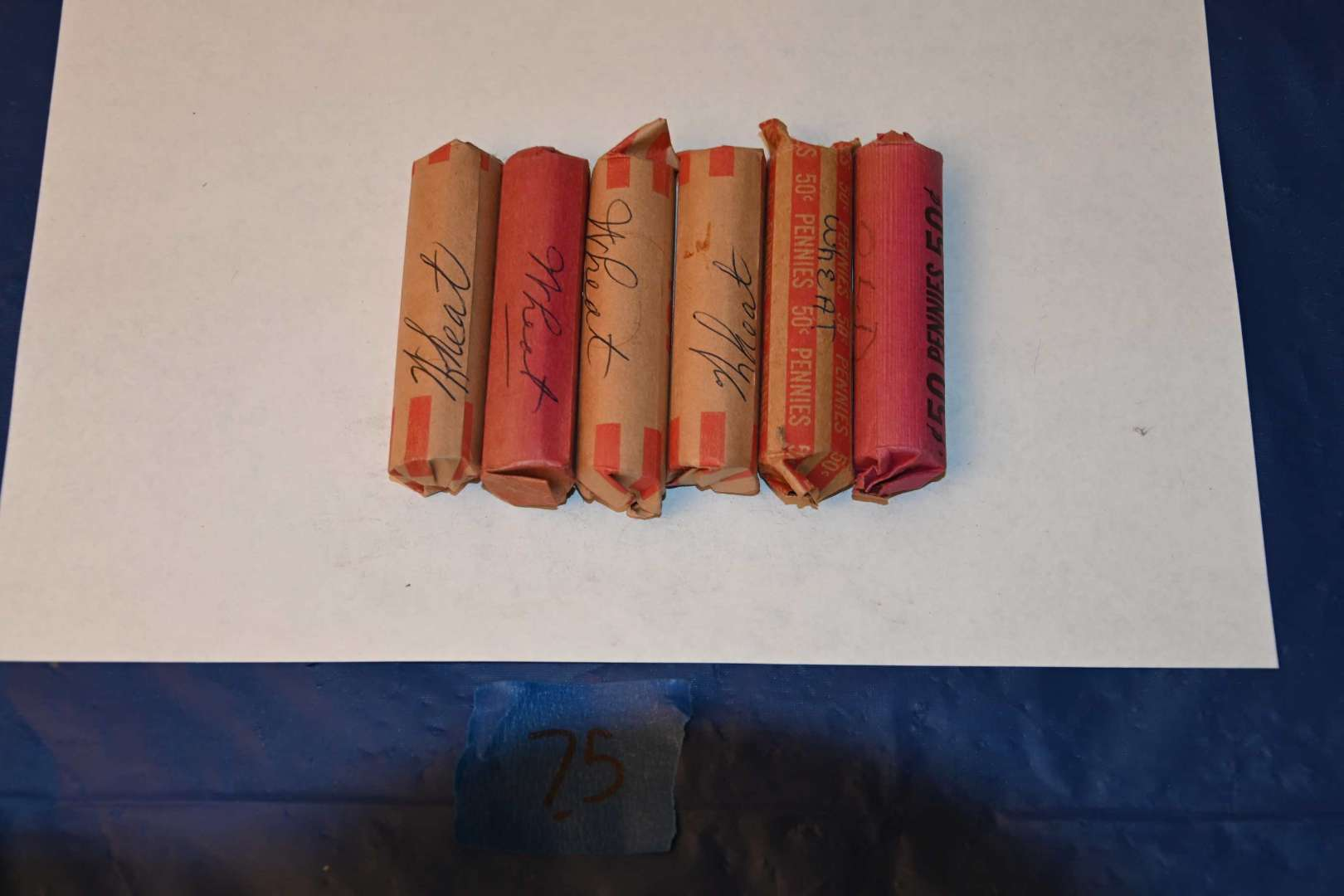 Lot # 75 Six unsearched rolls of wheat pennies