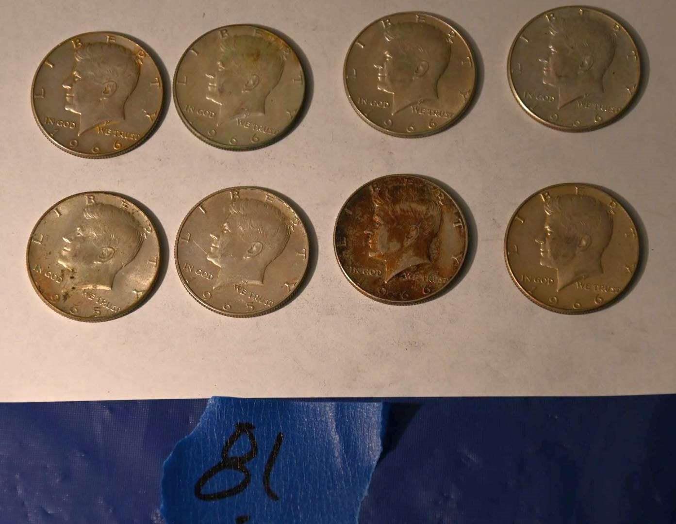 Lot # 81 1965-66 Kennedy silver half dollars