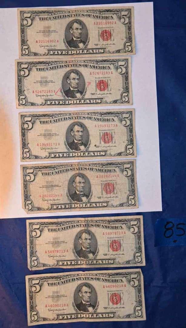 Lot # 85 Six 1963 $5 bills