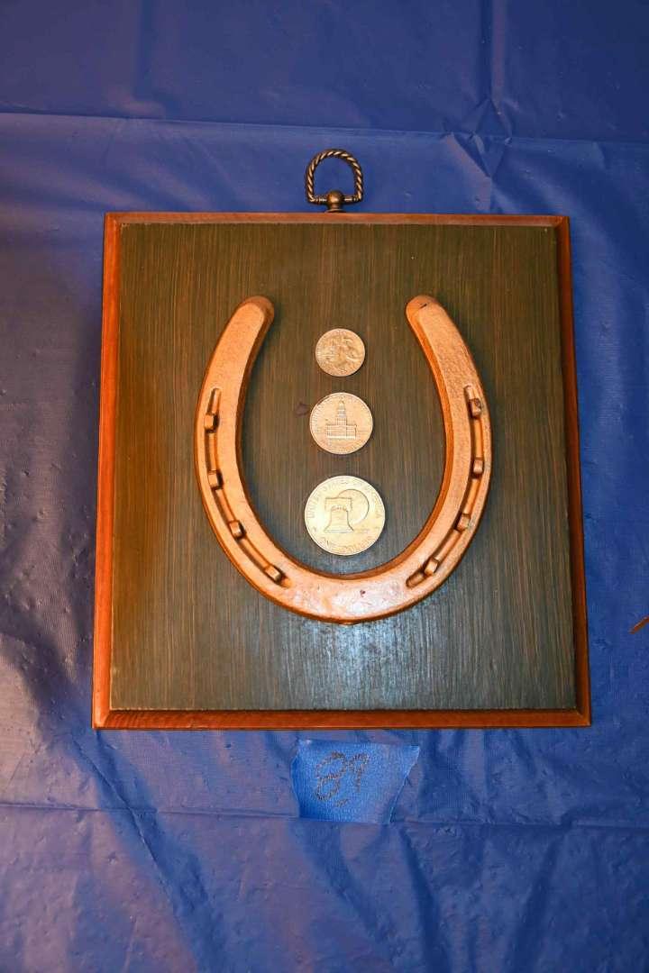 Lot # 89 Lucky horseshoe coin wall art