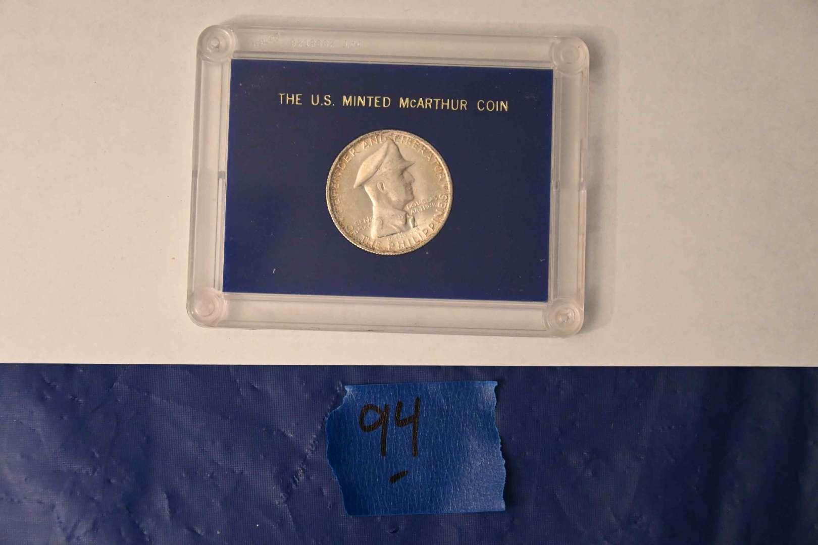 Lot # 94 1947 McArthur 90% silver coin with COA
