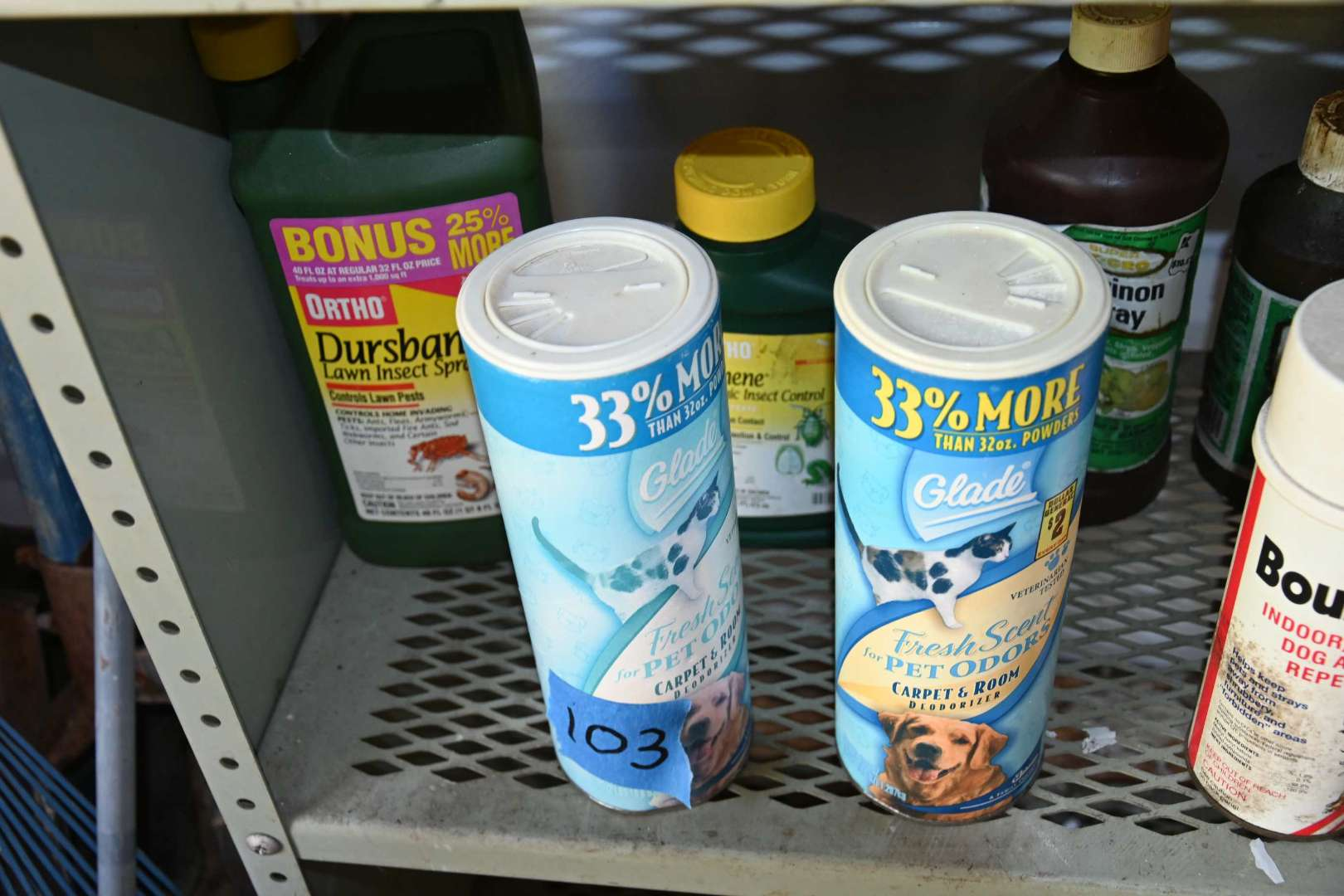 Lot # 103 Contents of shelf, spray bottles, insecticides, misc..