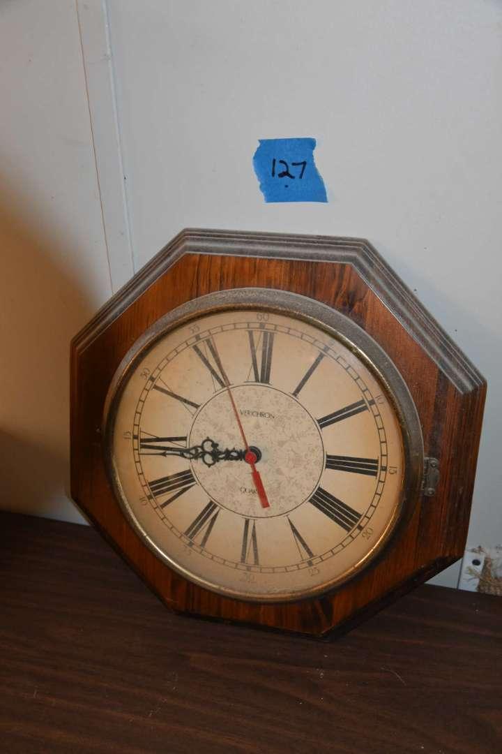 Lot # 127 Octagonal wall clock - Verichron Made in USA