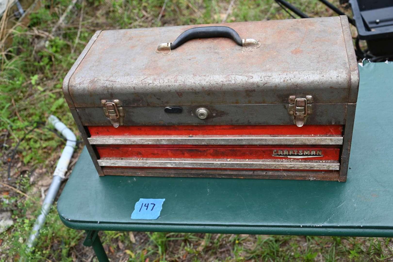 Lot # 147 Vintage CRAFTSMAN two drawer locking tool box with tray