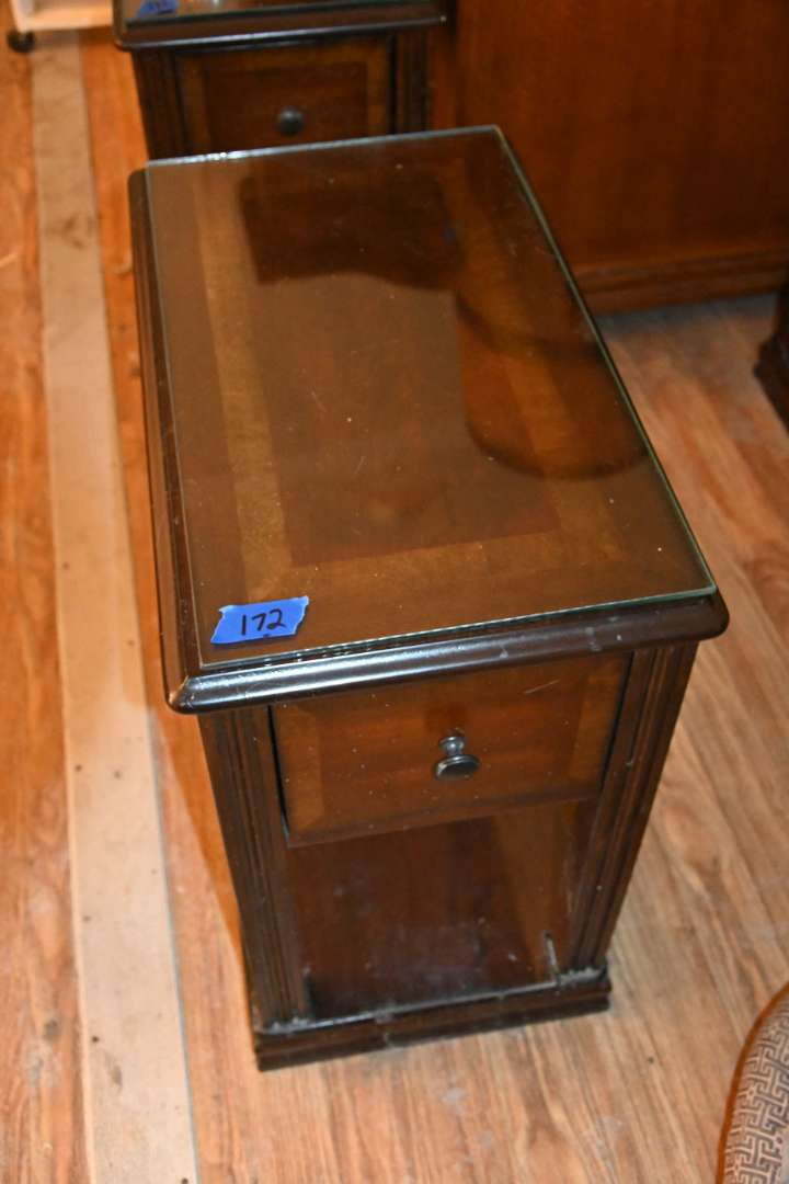 Lot # 172 Side table with pull out drawer & glass top